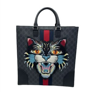 Gucci Angry Cat Convertible Web Tote GG Coated Canvas Tall Without Strap