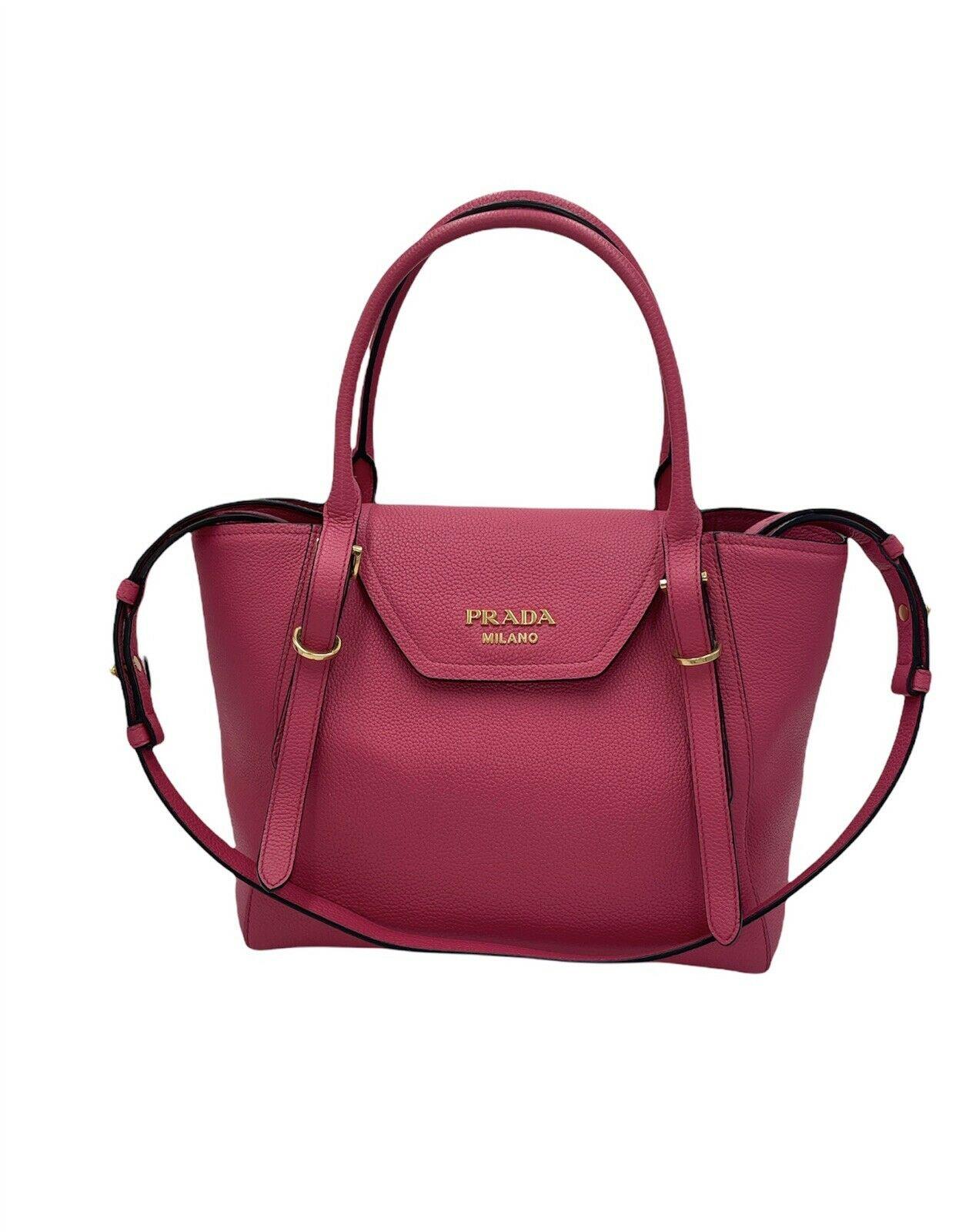 PRADA Vitello Grain Magenta Pink Top Handle Crossbody Handbag
